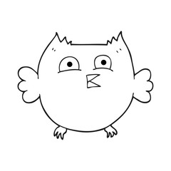 black and white cartoon happy owl