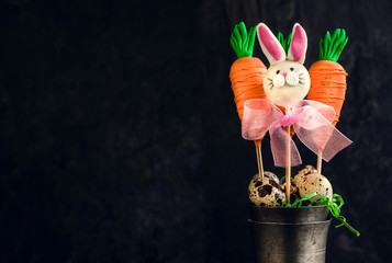 Carrots and bunny cake pops