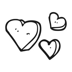 black and white cartoon hearts