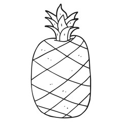 black and white cartoon pineapple