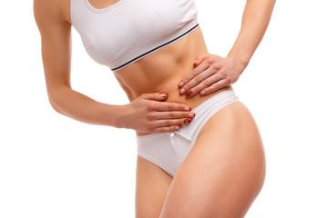 Sport woman having abdominal pain