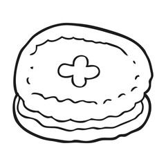 black and white cartoon biscuit