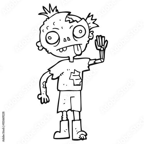 Black And White Cartoon Zombie Stock Image And Royalty Free Vector