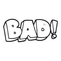 black and white cartoon Bad symbol