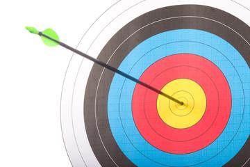 Arrow hit goal ring in archery target