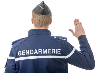 French policeman, back view, on white background