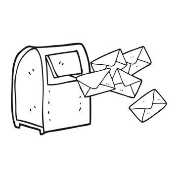 black and white cartoon mailbox