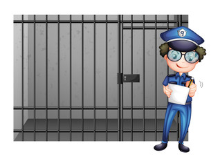 Prison cell and poliman