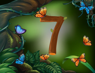 Number seven with 7 butterflies in the garden