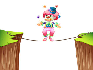 Clown juggling balls on the rope