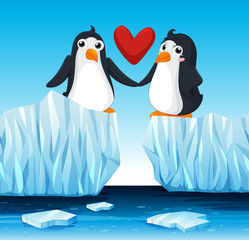 Penguins in love on ice