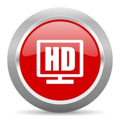 hd display red metallic chrome web circle glossy icon
