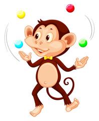 Happy monkey juggling balls
