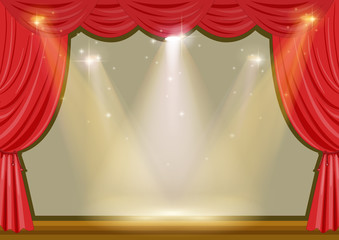 Empty stage with red curtain and lights