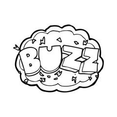 black and white cartoon buzz symbol