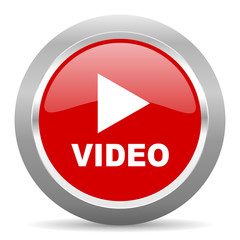 video red metallic chrome web circle glossy icon