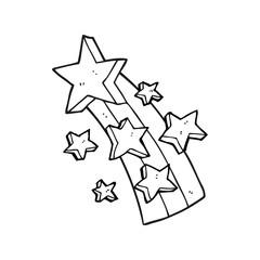 black and white cartoon shooting star