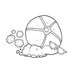 black and white cartoon beach ball