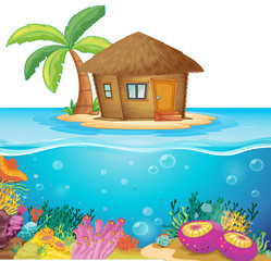 Hut on the island in the middle of the ocean