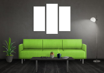 Isolated wall art canvas. Sofa, lamp, plant, glasses, book, coffee on table in room interior.