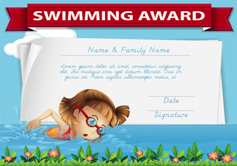 Swimming award certificate template