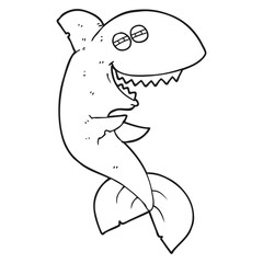 black and white cartoon laughing shark