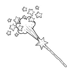black and white cartoon magic wand