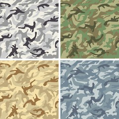 Camouflage Vector Pattern Texture Background Set  - Urban, Jungle, Desert, Navy