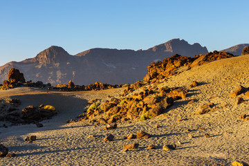 sunrise in the caldera of El Teide Volcano, Tenerife, Spain