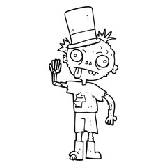 black and white cartoon zombie