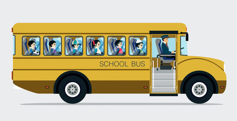 School bus with children on a gray background.
