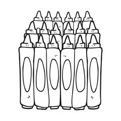 black and white cartoon crayons