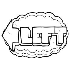 black and white cartoon left symbol
