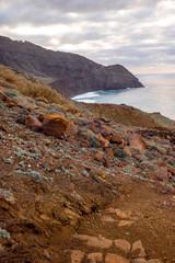 Rocky coastline on the western part of La Gomera island near Arguamul village in Spain