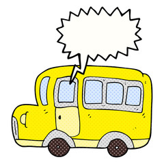 comic book speech bubble cartoon yellow school bus