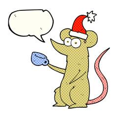 comic book speech bubble cartoon mouse wearing christmas hat