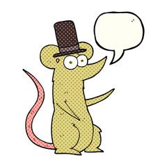 comic book speech bubble cartoon mouse wearing top hat