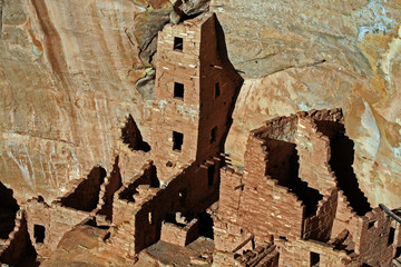 Native American Mesa Verde Cliff Dwellings Glowing in the afternoon sun