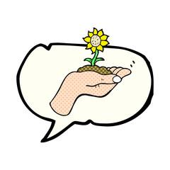 comic book speech bubble cartoon flower growing in palm of hand