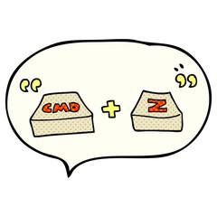 comic book speech bubble cartoon command Z function