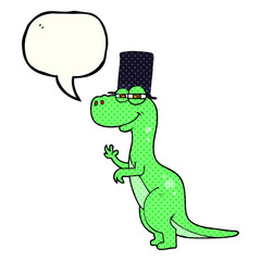 comic book speech bubble cartoon dinosaur wearing top hat