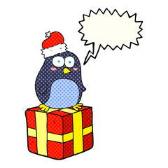comic book speech bubble cartoon christmas penguin