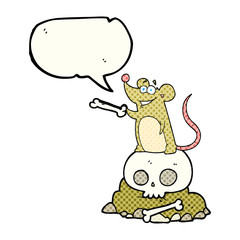 comic book speech bubble cartoon graveyard rat