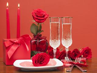 Fototapete - Happy Valentine's day. Table setting for love romantic dinner