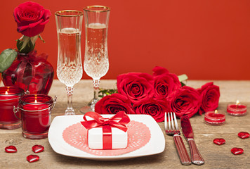 Wall Mural - Happy Valentine's day. Table setting for love romantic dinner
