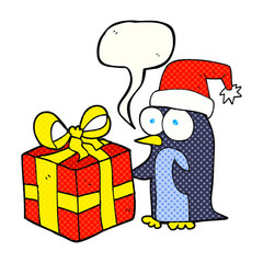 comic book speech bubble cartoon christmas penguin with present