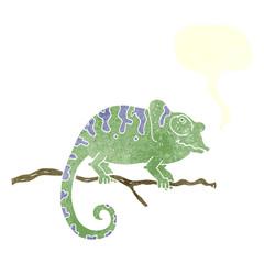 retro speech bubble cartoon chameleon