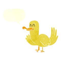 retro speech bubble cartoon duck
