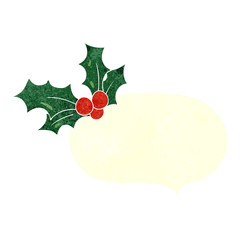 retro speech bubble cartoon christmas holly