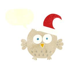 retro speech bubble cartoon little owl wearing christmas hat